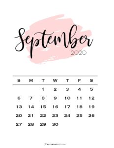09 Monthly Calendar Pink Brush September 2020 | SaturdayGift