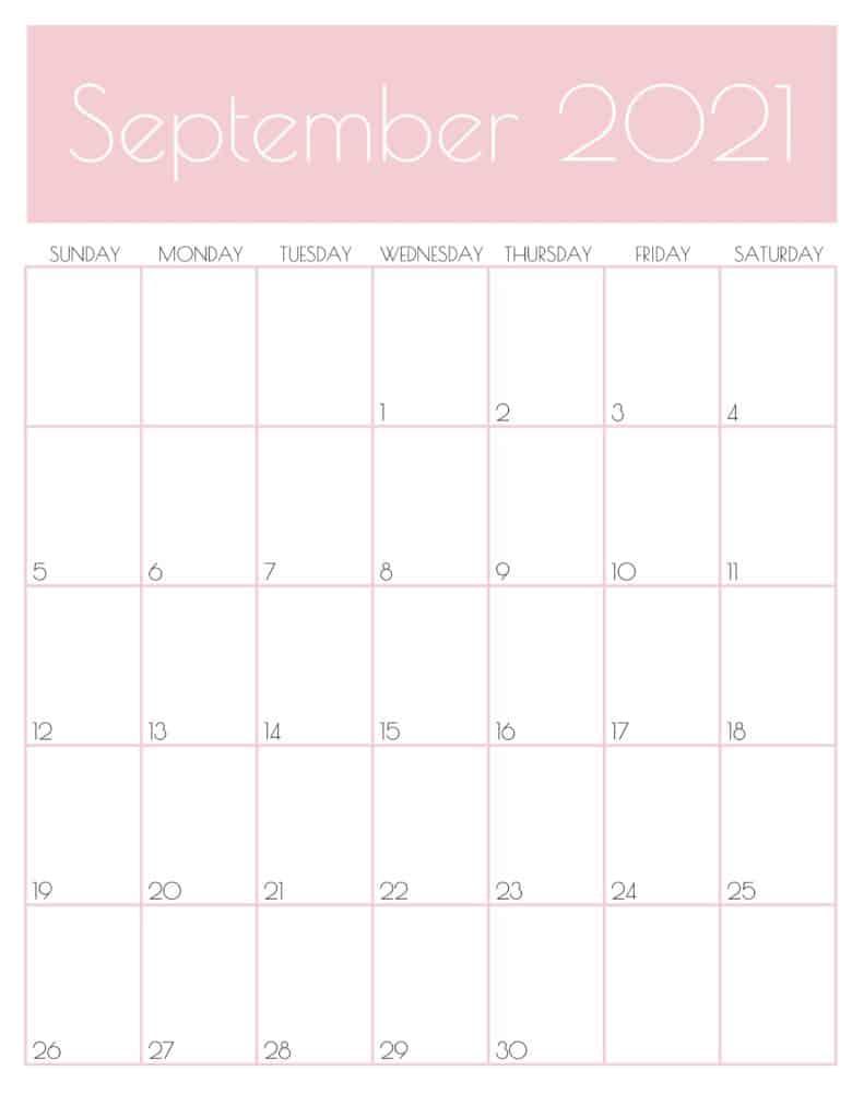 Pink Monthly Goals September 2021 Calendar Vertical Sunday-start | SaturdayGift