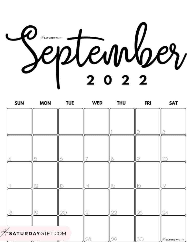 Cute Printable September 2022 Calendar by Month Black & White Vertical Sunday-start | SaturdayGift