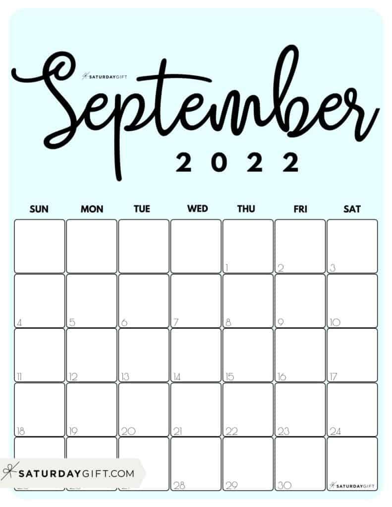 Cute Printable September 2022 Calendar by Month Blue Vertical Sunday-start | SaturdayGift