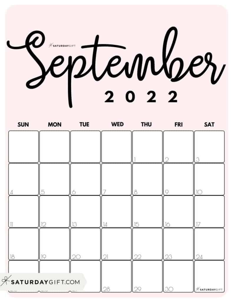 Cute Printable September 2022 Calendar by Month Pink Vertical Sunday-start | SaturdayGift