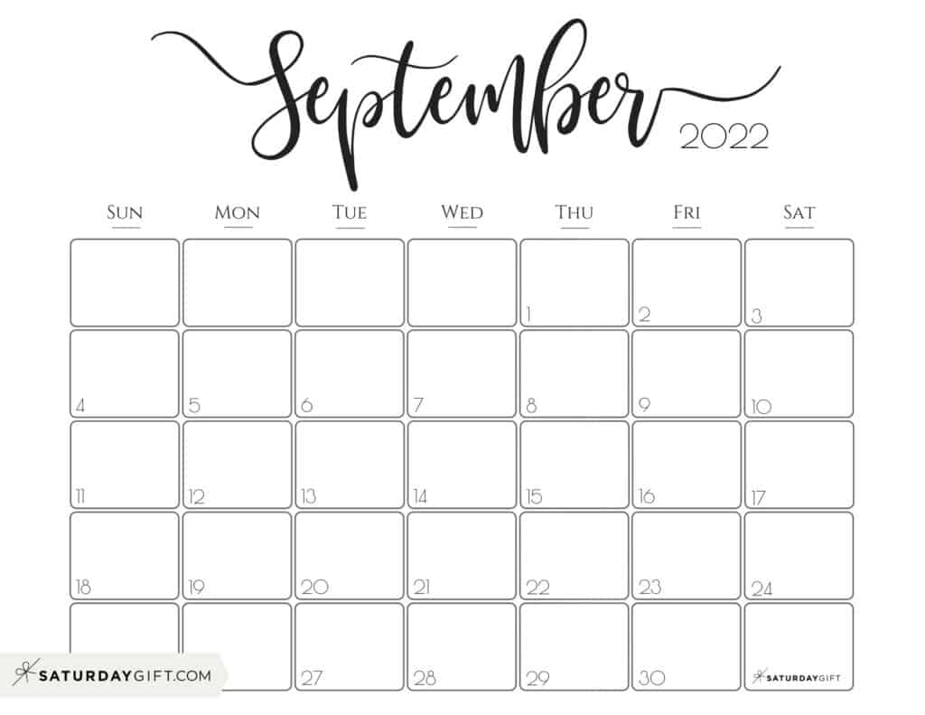 Elegant September 2022 calendar Free Printable Horizontal Landscape Black & White Sunday-Start | SaturdayGift