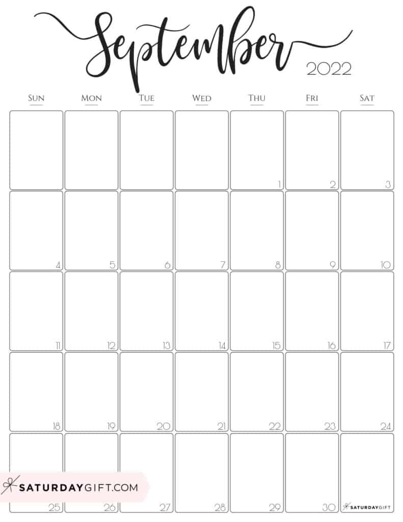 Elegant September 2022 calendar Free Printable Vertical Portrait Black & White Sunday-Start | SaturdayGift