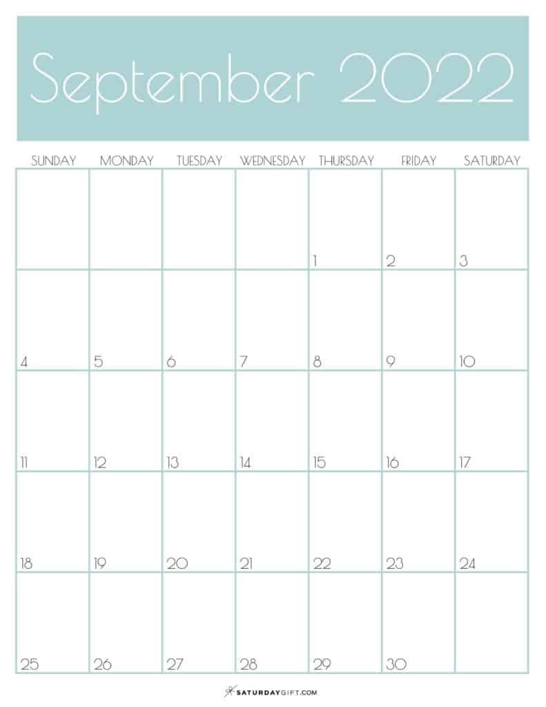 Green Monthly Goals September 2022 Calendar Vertical Sunday-start | SaturdayGift