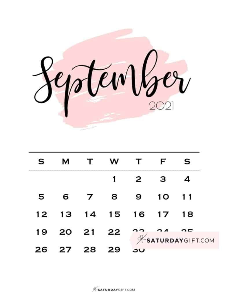 Monthly September 2021 Calendar Minimalistic Pink Brush | SaturdayGift