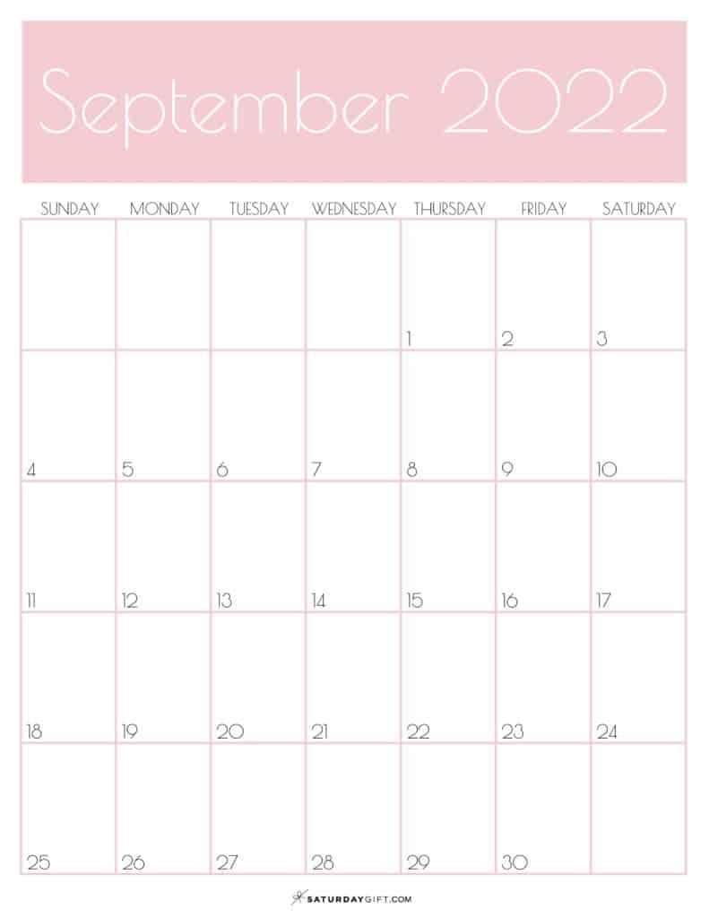 Pink Monthly Goals September 2022 Calendar Vertical Sunday-start | SaturdayGift