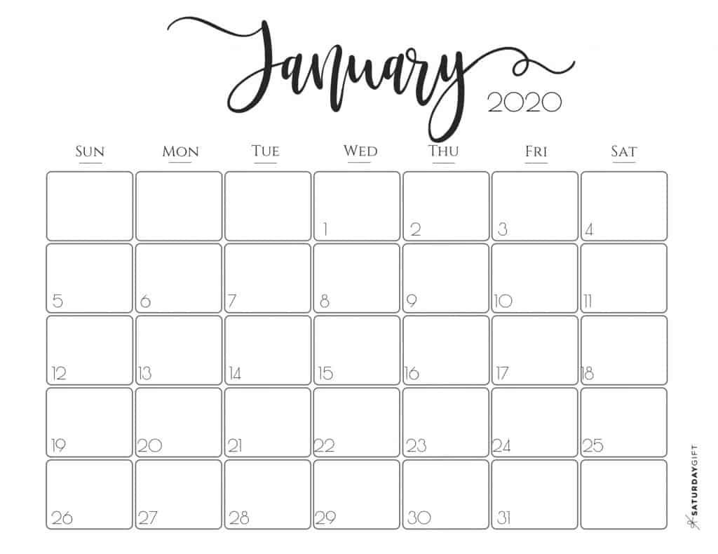 Pretty Printable Calendar 2020 Elegant 2020 Calendar Free Printables | SaturdayGift