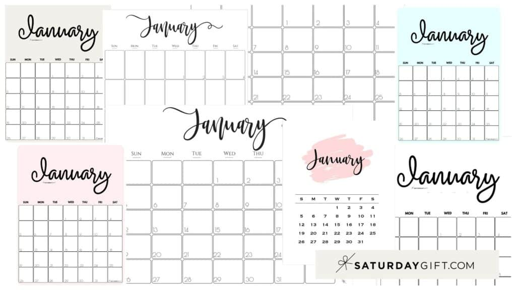 Cute & Free Printable January Monthly Calendars Featured Collage Image | SaturdayGift
