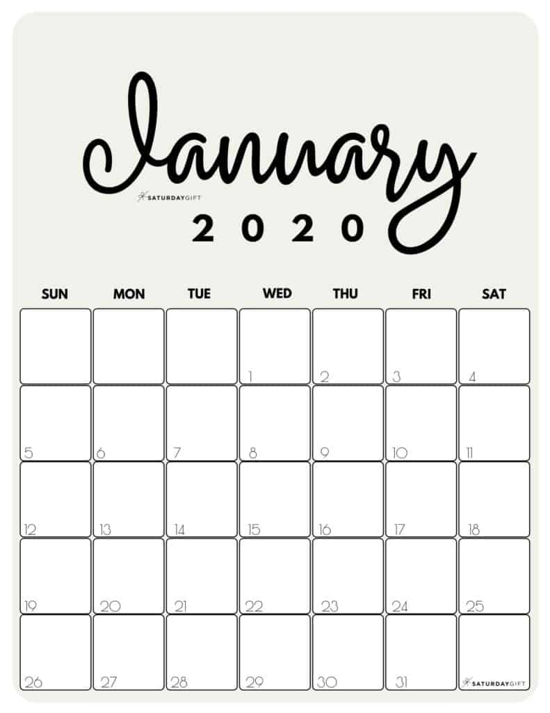 January 2020 Cute Monthly Calendar Beige PDF | SaturdayGift
