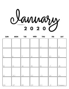 January 2020 Cute Monthly Calendar Black and White PDF | SaturdayGift