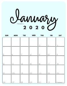 January 2020 Cute Monthly Calendar Blue PDF | SaturdayGift