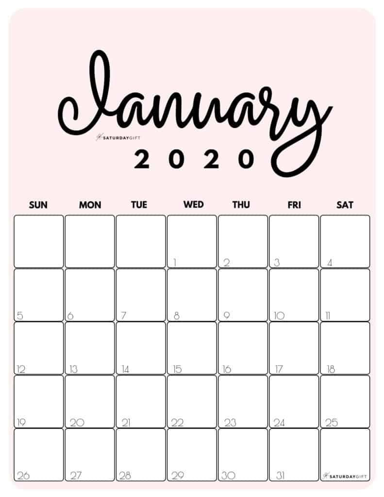 January 2020 Cute Monthly Calendar Pink PDF | SaturdayGift