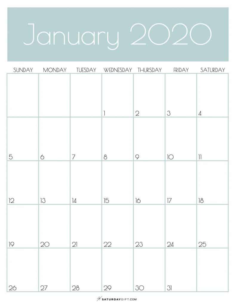 Monthly Goals Calendar January 2020 Jungle Mist | SaturdayGift
