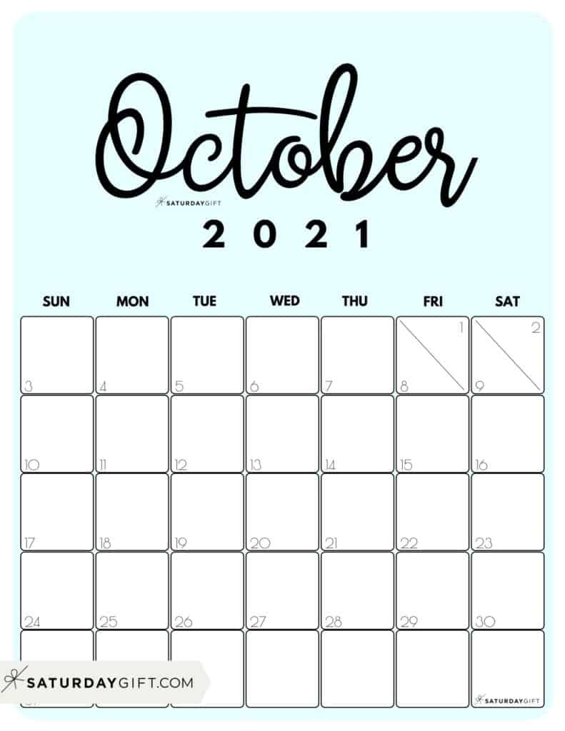 Cute Blue Printable October 2021 Calendar by Month Vertical Sunday-start by SaturdayGift