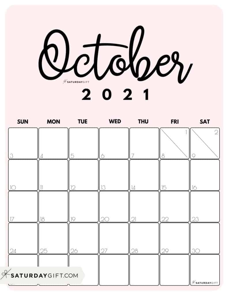 Cute (& Free!) Printable October 2021 Calendar | | SaturdayGift