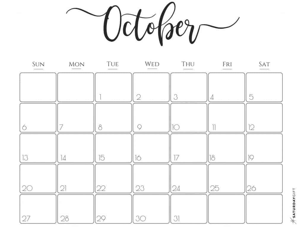 October Calendar 2019.Elegant 2019 Calendar Saturdaygift