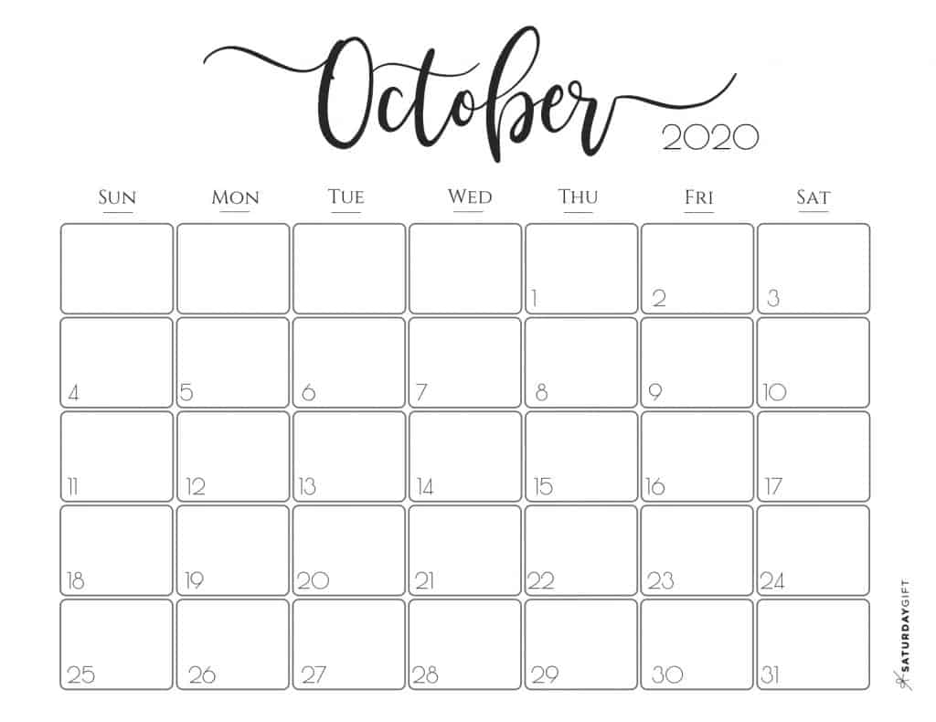 It is a picture of Zany Free Printable October 2020 Calendars