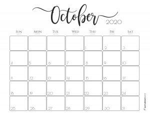 Elegant 2020 Calendar October - free printables | Pretty printable | Planner sheet | Planning & Organizing | 2020 Calendar | Black & white calendar | Minimalistic, pretty & simple | SaturdayGift | Saturday gift #SaturdayGift