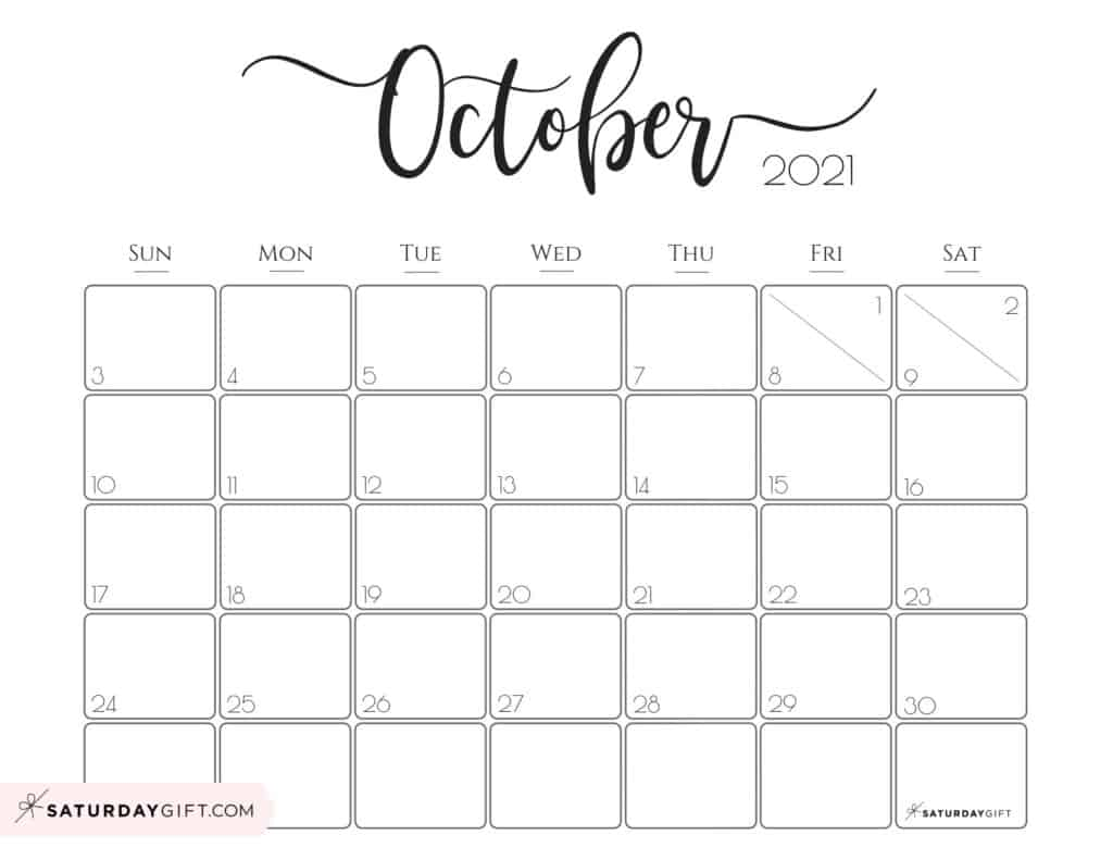 Elegant October 2021 calendar Free Printable Horizontal Sunday-Start