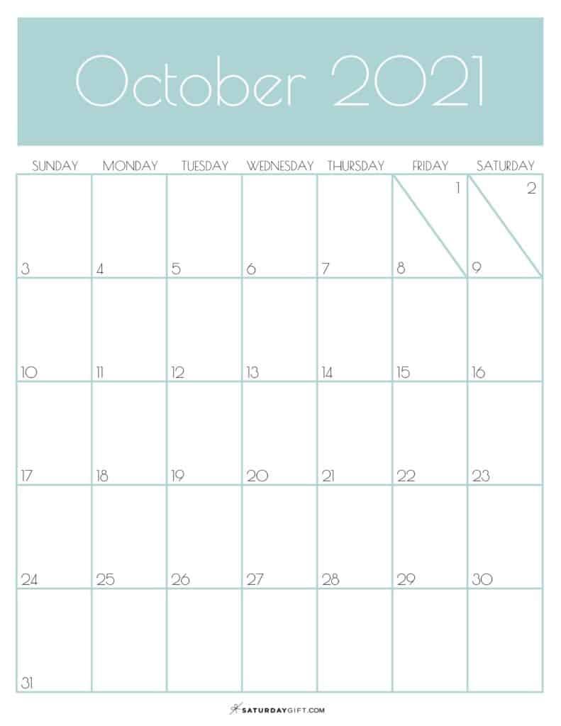 Green Monthly Goals October 2021 Calendar Vertical Sunday-start   SaturdayGift
