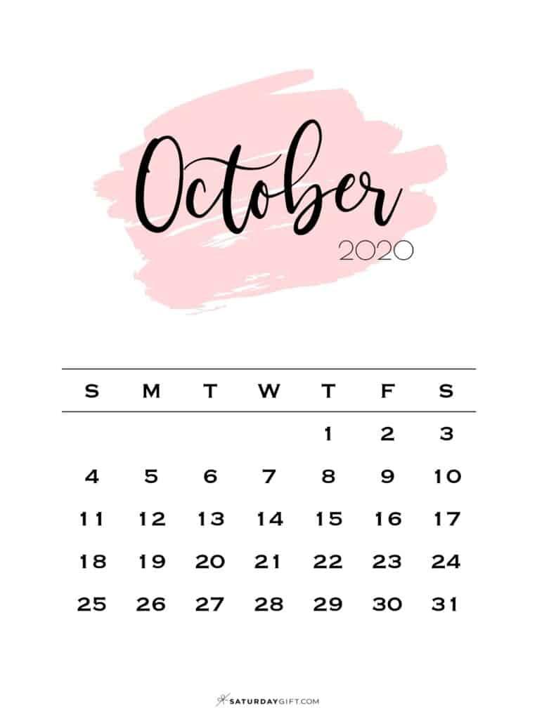 10 Monthly Calendar Pink Brush October 2020 | SaturdayGift