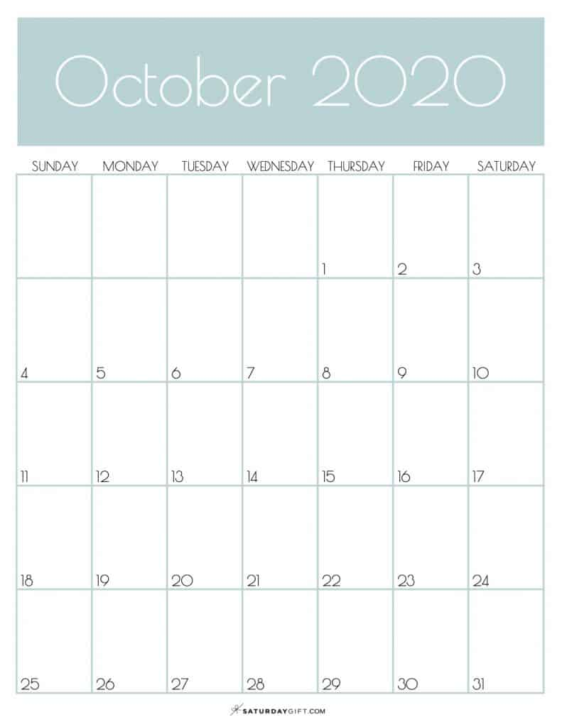 Monthly Goals Calendar October 2020 Jungle Mist | SaturdayGift