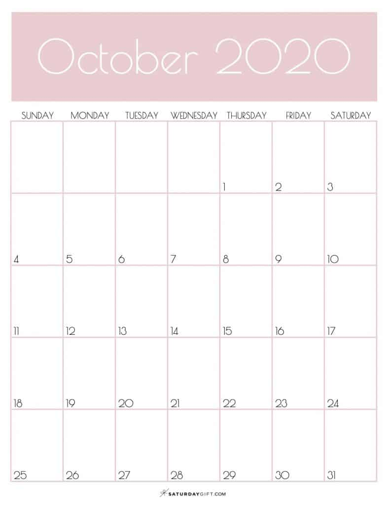 Monthly Goals Planner Calendar October 2020 Rose Gold | SaturdayGift