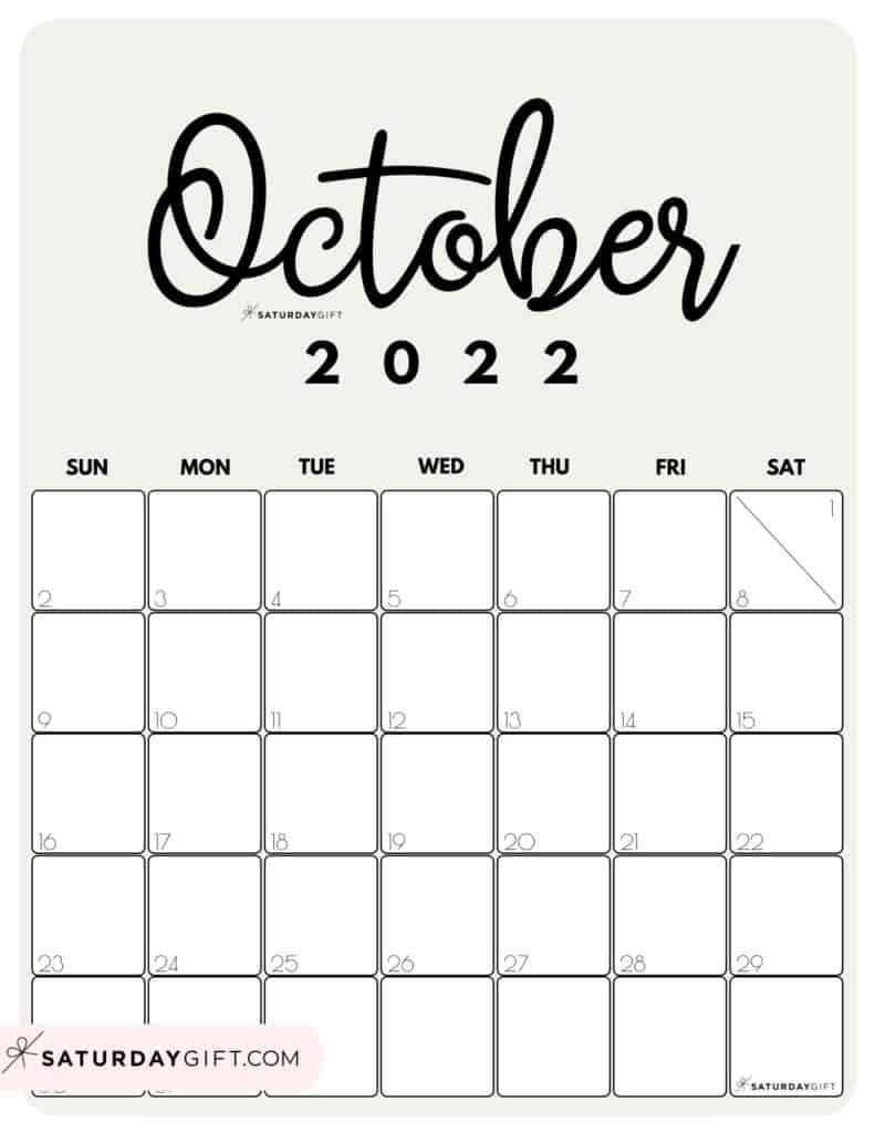 Cute Printable October 2022 Calendar by Month Beige Vertical Sunday-start   SaturdayGift