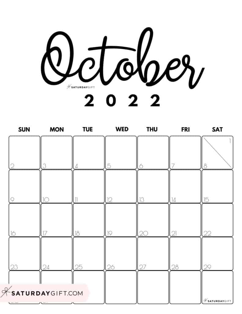 Cute Printable October 2022 Calendar by Month Black & White Vertical Sunday-start   SaturdayGift