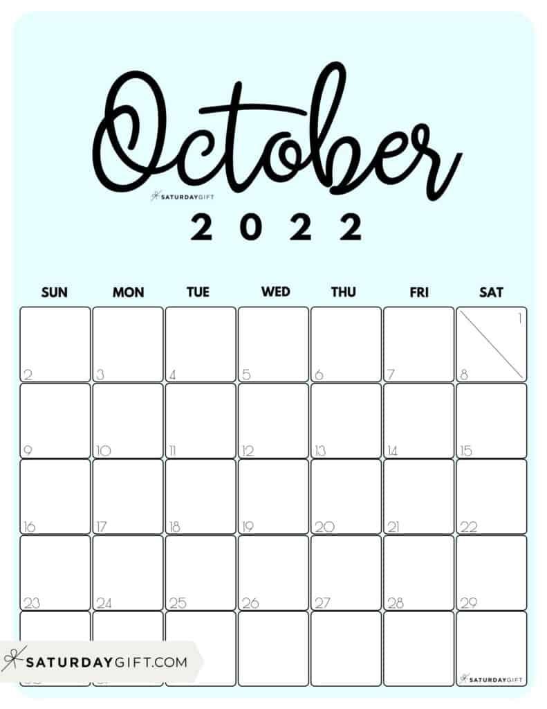 Cute Printable October 2022 Calendar by Month Blue Vertical Sunday-start   SaturdayGift