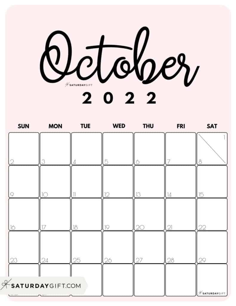 Cute Printable October 2022 Calendar by Month Pink Vertical Sunday-start   SaturdayGift