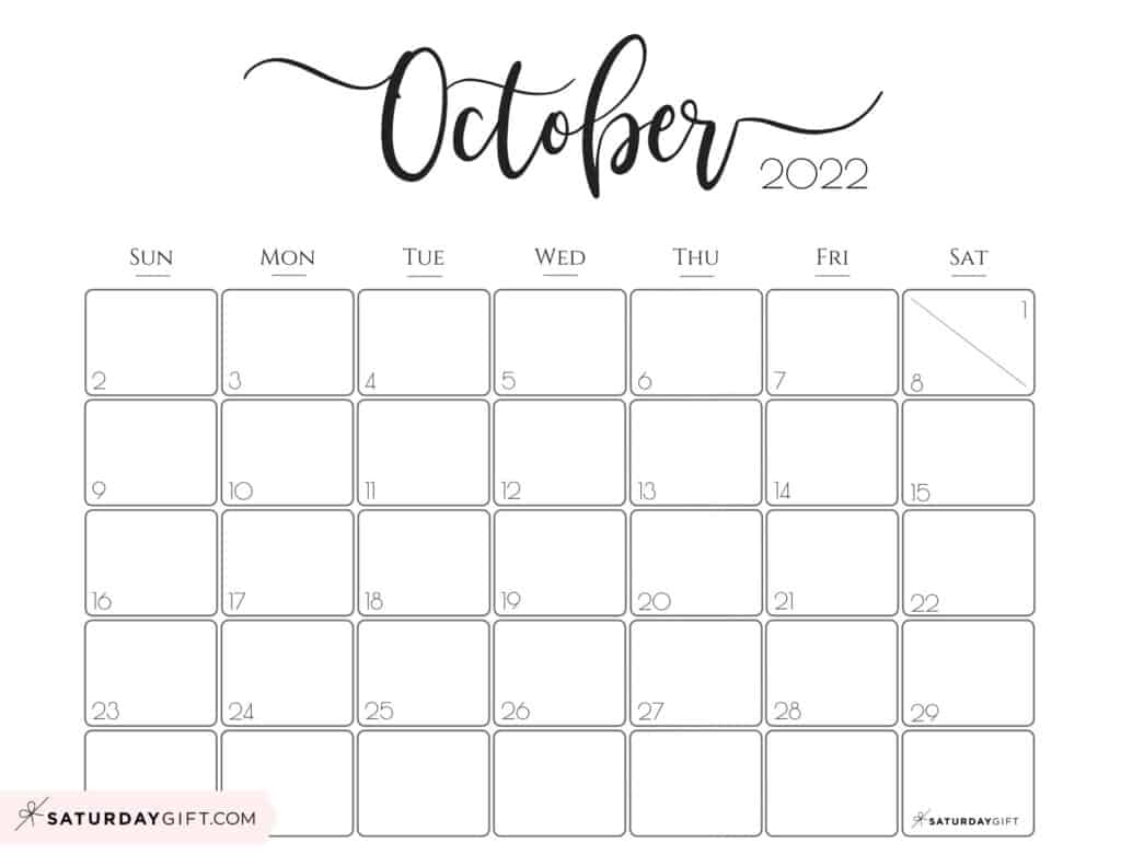 Elegant October 2022 calendar Free Printable Horizontal Landscape Black & White Sunday-Start   SaturdayGift