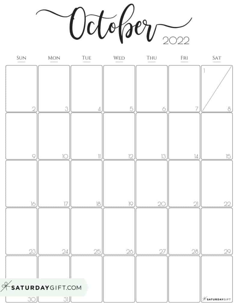 Elegant October 2022 calendar Free Printable Vertical Portrait Black & White Sunday-Start   SaturdayGift