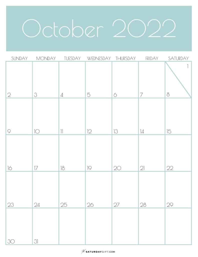 Green Monthly Goals October 2022 Calendar Vertical Sunday-start   SaturdayGift