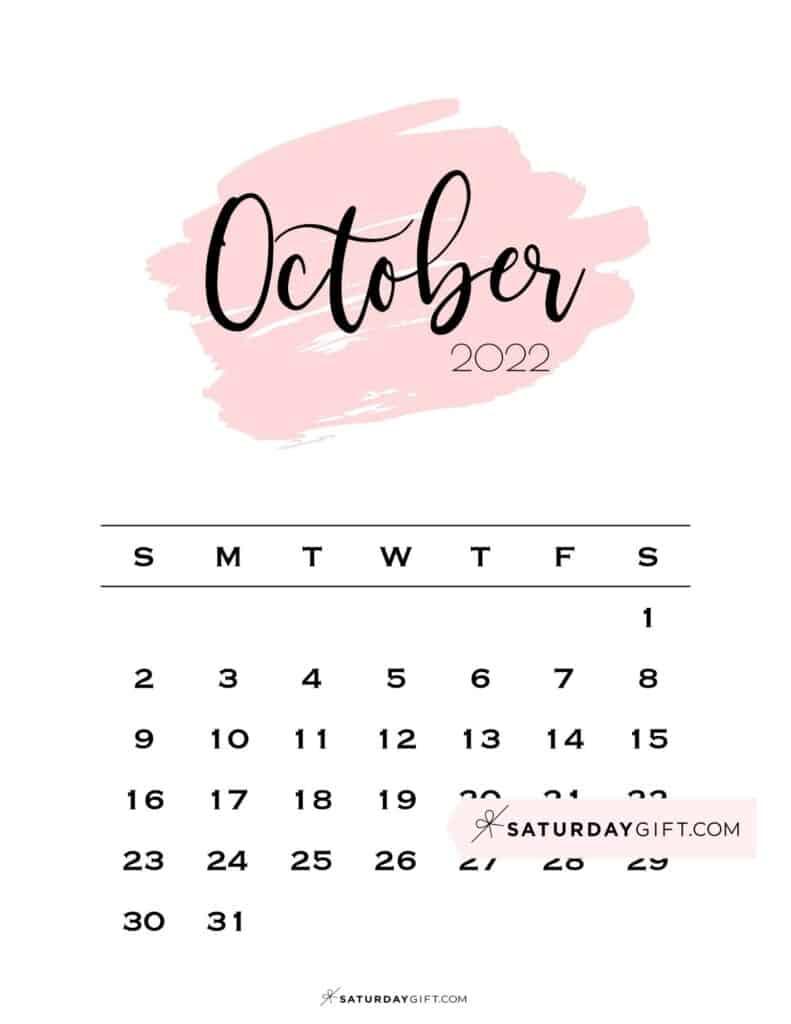 Monthly October 2022 Calendar Minimalistic Pink Brush   SaturdayGift