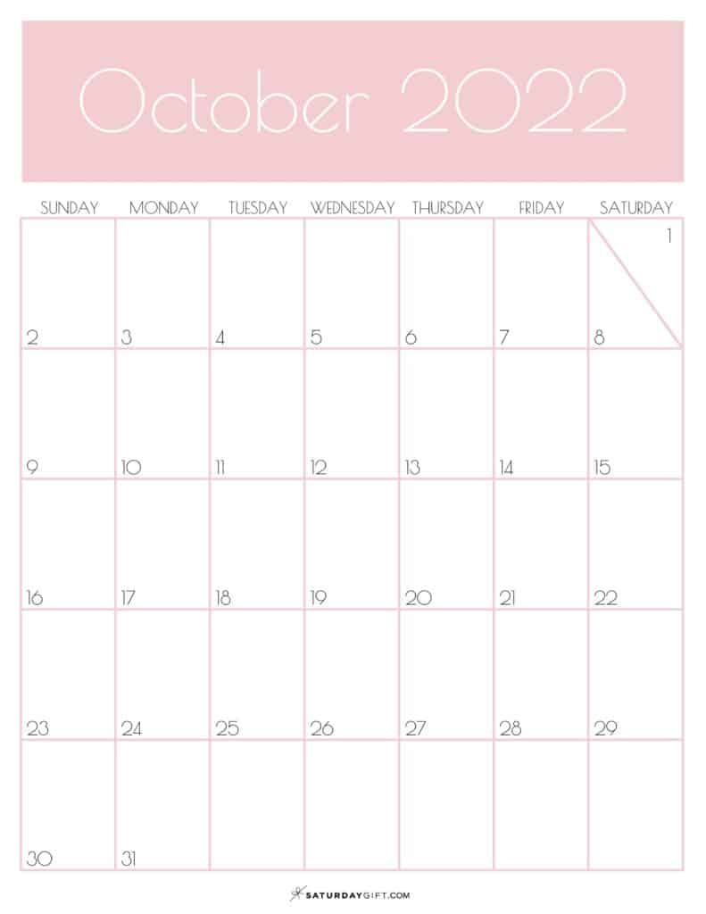 Pink Monthly Goals October 2022 Calendar Vertical Sunday-start   SaturdayGift