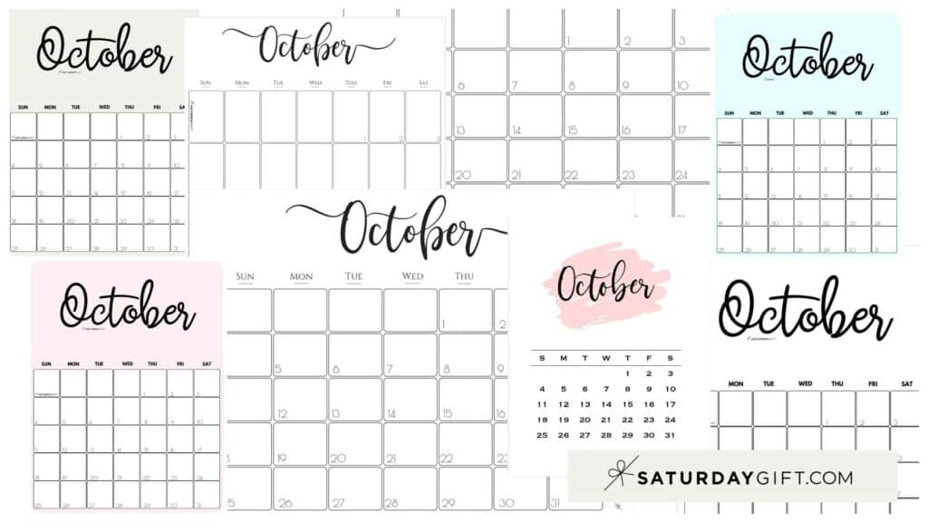 Cute & Free Printable October Monthly Calendars Featured Collage Image