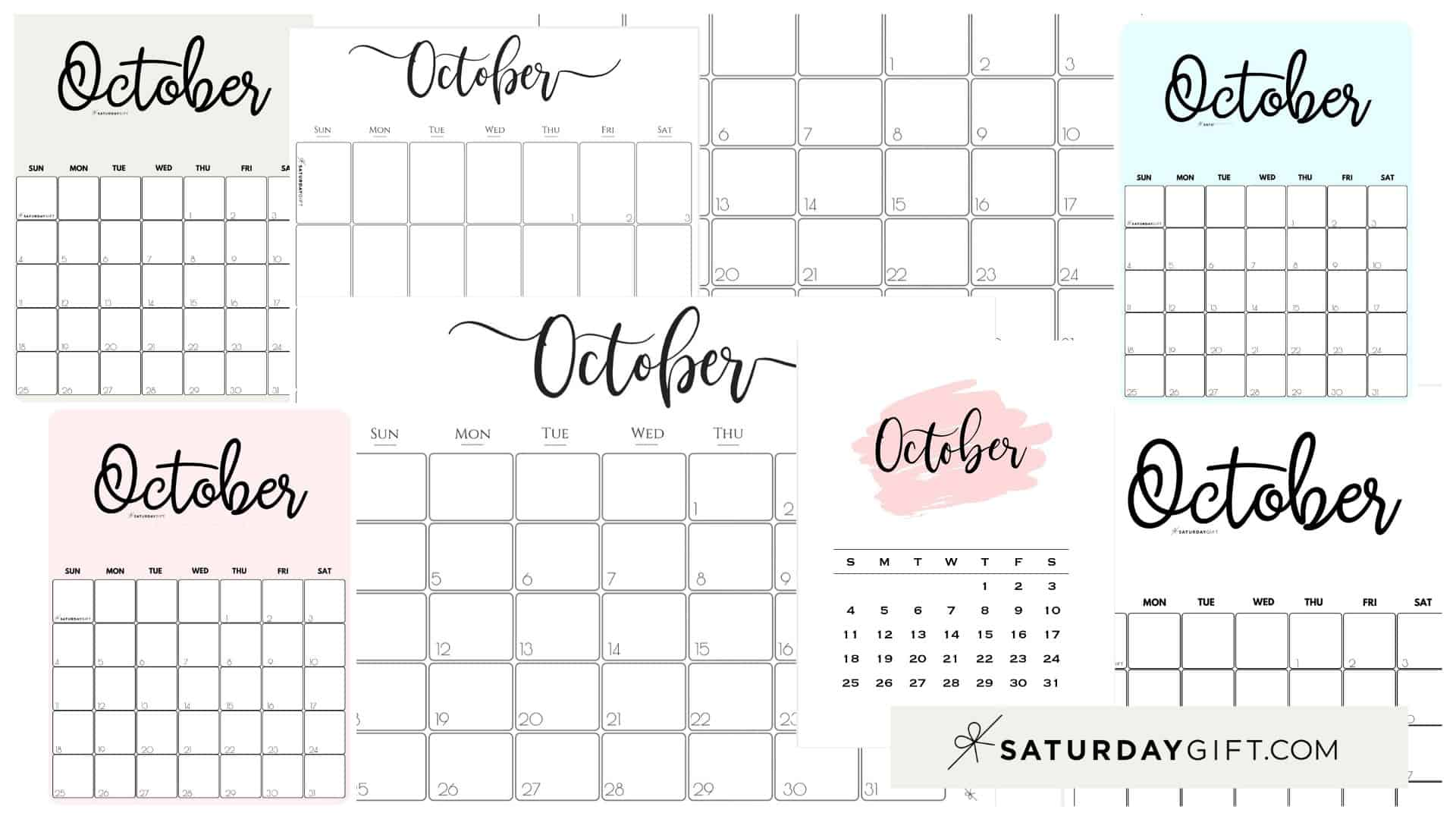 10 Oct Cute Free Printable October Monthly Calendars Featured Collage Image SaturdayGift