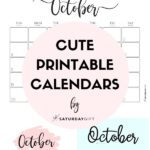 Cute & Free Printable October Monthly Calendars Long Pin Collage Image | SaturdayGift