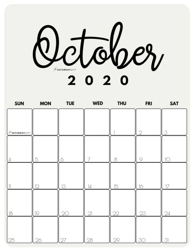 October 2020 Cute Printable Calendar by month Beige PDF | SaturdayGift