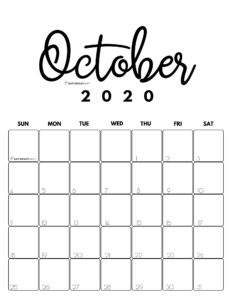 October 2020 Cute Monthly Calendar Black and White PDF | SaturdayGift