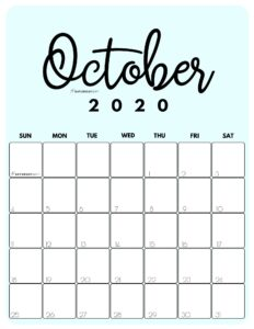 October 2020 Cute Monthly Calendar Blue PDF | SaturdayGift