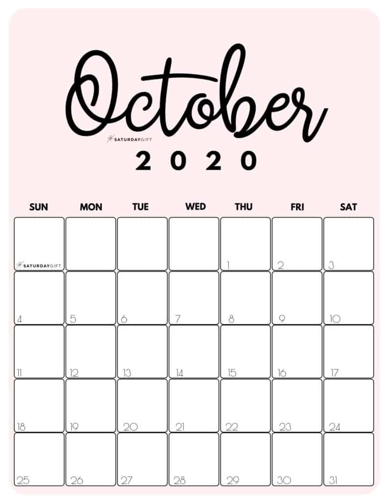 October 2020 Cute Monthly Calendar Pink PDF | SaturdayGift