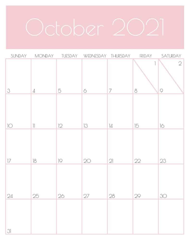 Pink Monthly Goals October 2021 Calendar Vertical Sunday-start   SaturdayGift