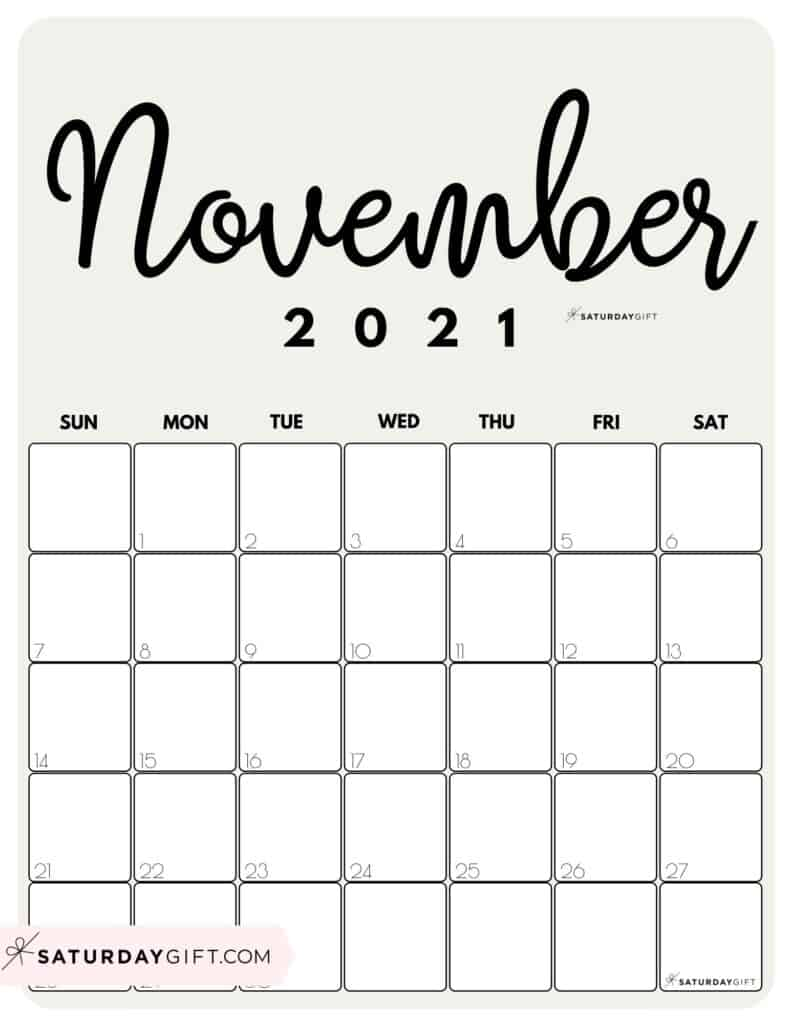 Elegant Beige Printable November 2021 Calendar by Month Vertical Sunday-start by SaturdayGift