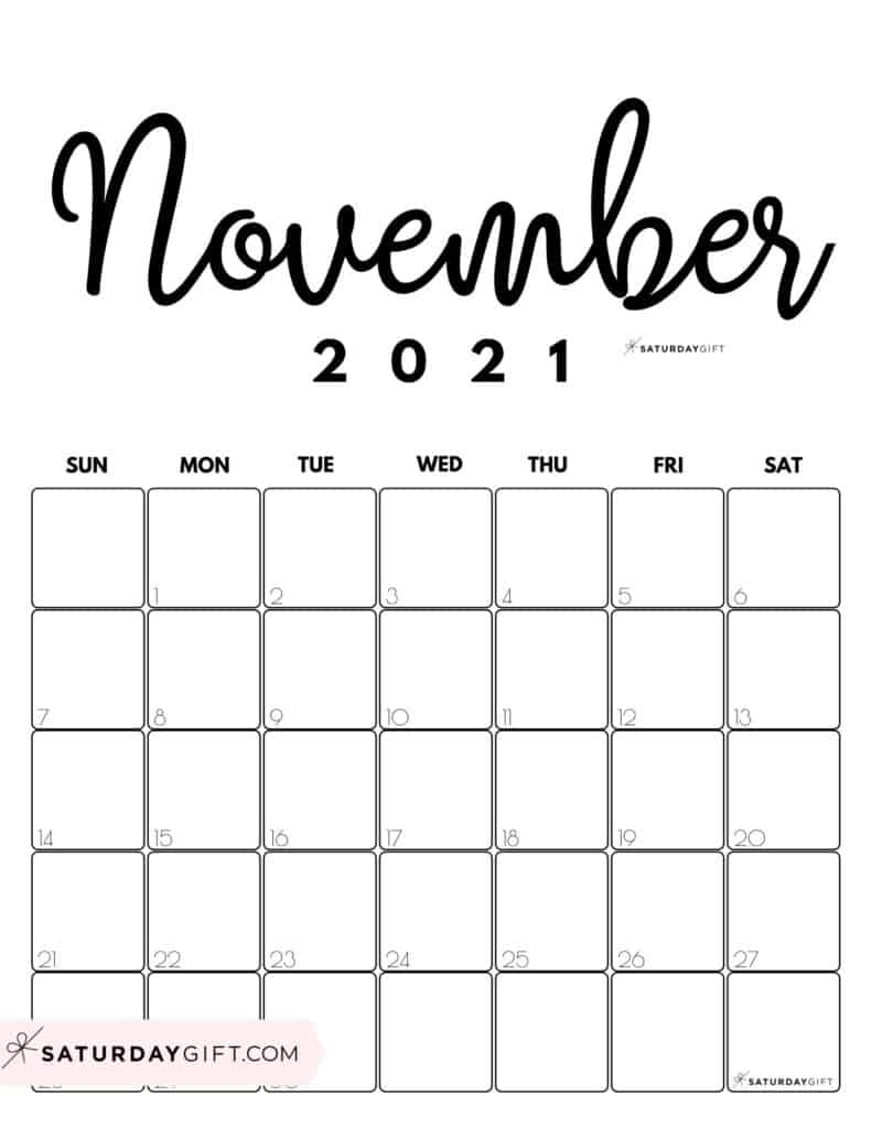 November Printable November 2021 Calendar by Month Vertical Sunday-start by SaturdayGift