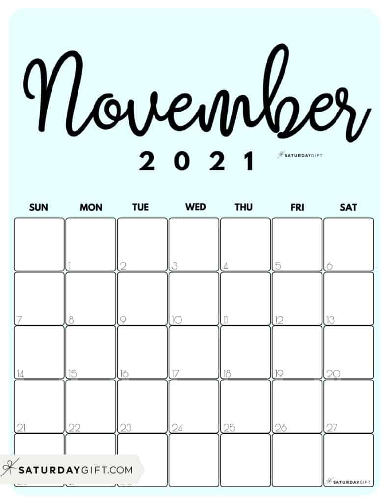 Cute Blue Printable November 2021 Calendar by Month Vertical Sunday-start by SaturdayGift