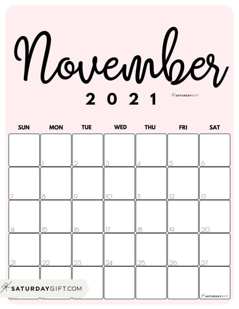 Cute Pink Printable November 2021 Calendar by Month Vertical Sunday-start by SaturdayGift