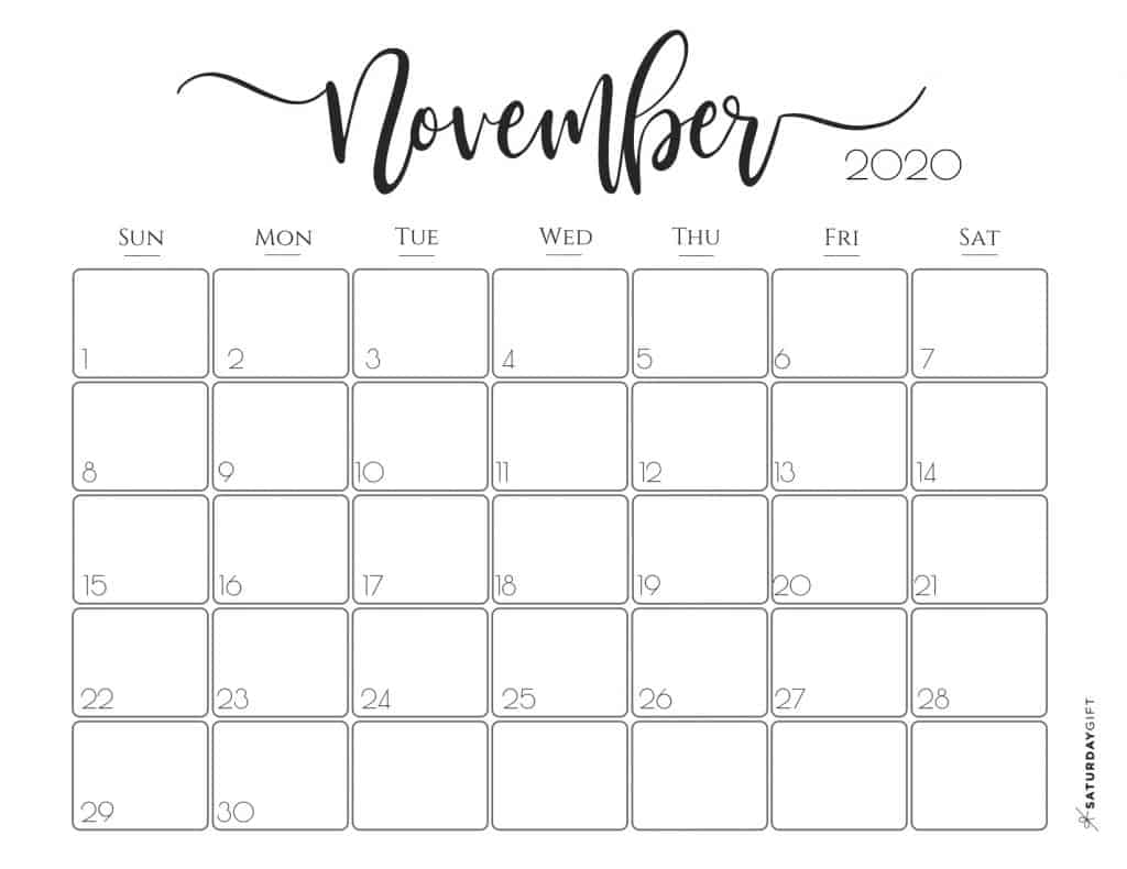 Elegant 2020 Calendar November - free printables | Pretty printable | Planner sheet | Planning & Organizing | 2020 Calendar | Black & white calendar | Minimalistic, pretty & simple | SaturdayGift | Saturday gift #SaturdayGift