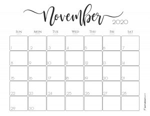 Elegant 2020 Calendar November - free printables | Pretty printable | Planner sheet | Planning & Organizing | 2020 Calendar | Black & white calendar | Minimalistic, pretty & simple | SaturdayGift | Saturday gift #SaturdayGift